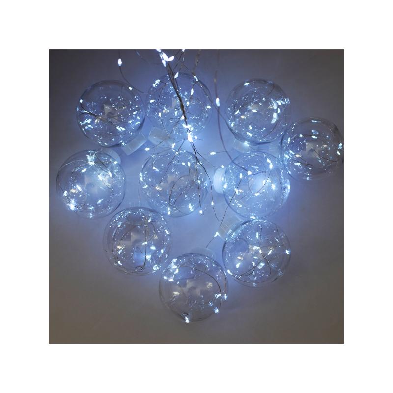 Világító LED gömb fényfüzér / 200 cm