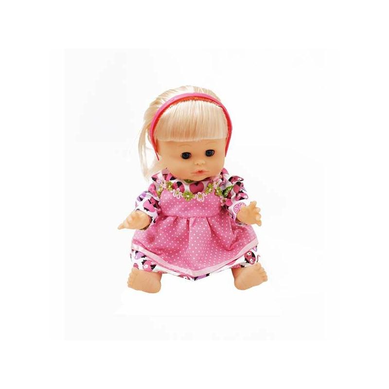 Interaktív beszélő és pisilő játék hajas baba – kiegészítőkkel