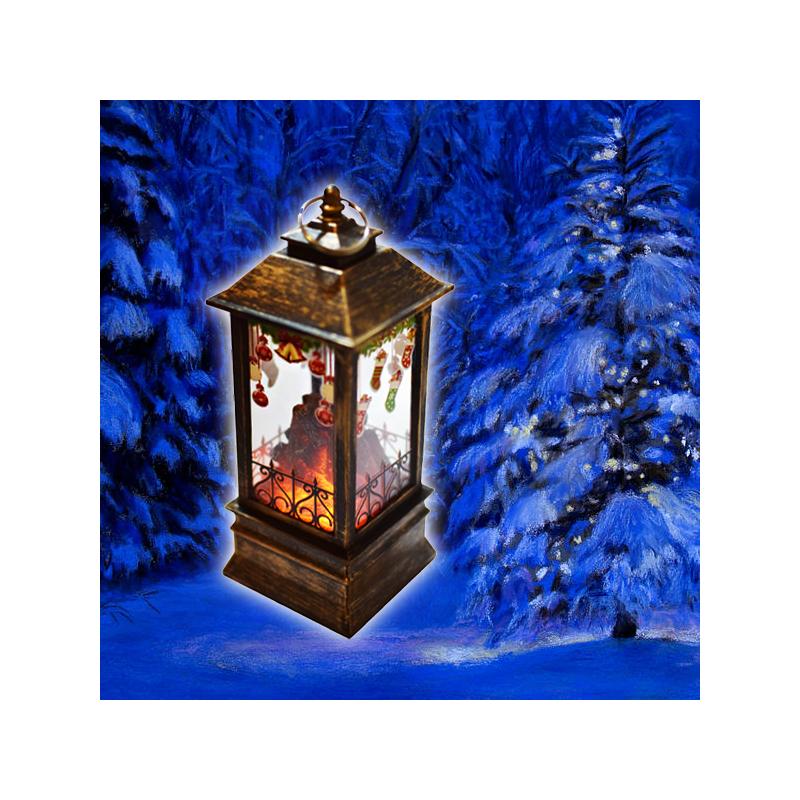 Karácsonyi, kandallót imitáló LED lámpás / 12 cm