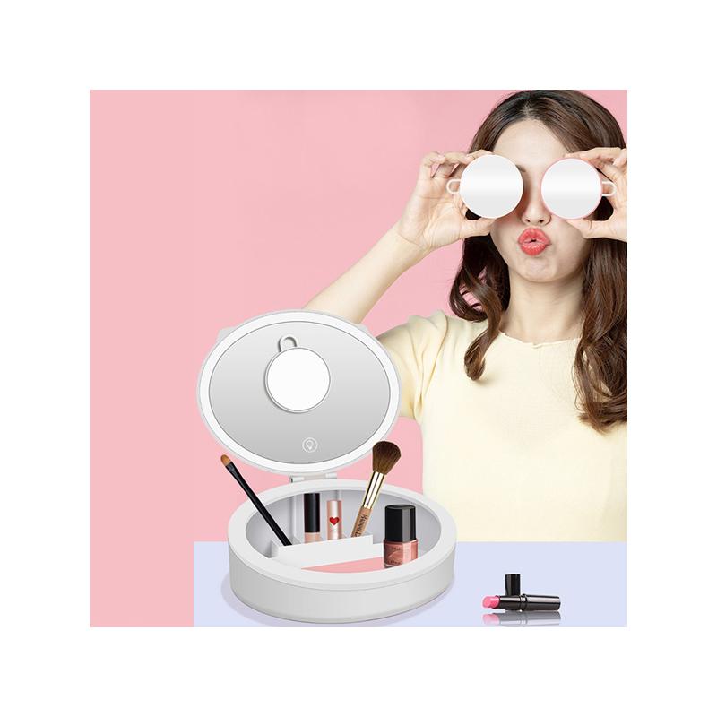 Kozmetikai- és sminkes doboz tükörrel és világítással