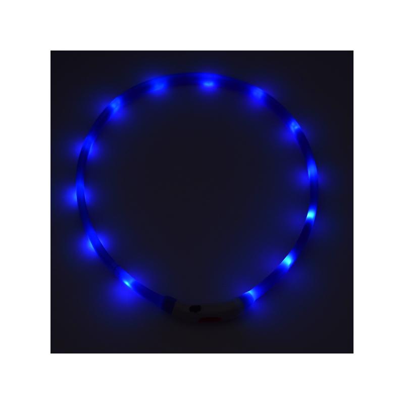 Közepes világító LED-es nyakörv / méretre vágható, USB-s