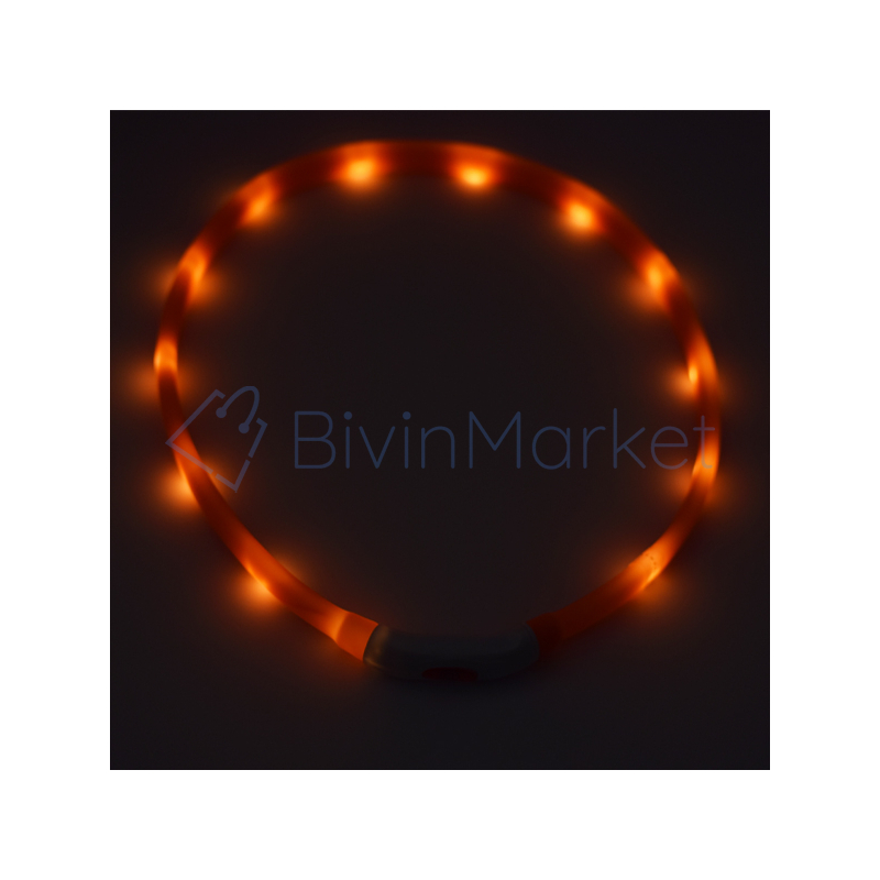 Nagy világító LED-es nyakörv / méretre vágható, USB-s