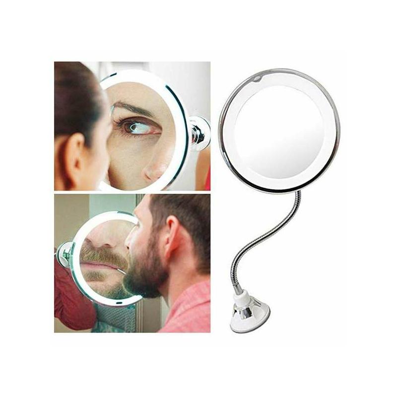 Flexibilis kozmetikai tükör tapadókoronggal, 10-szeres nagyítással
