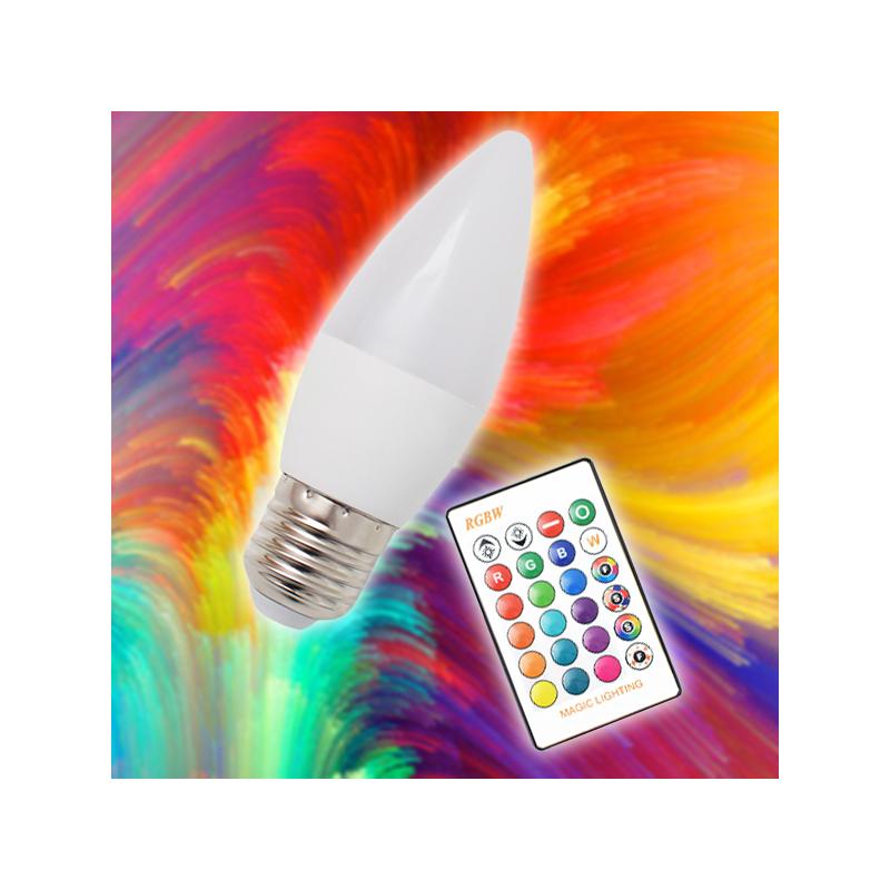 A60 RGBW gyertya LED izzó távirányítóval / 3w, e27