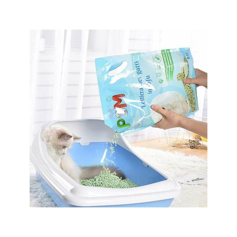 Lebomló macskaalom / csomósodó, WC-n lehúzható, 6 liter - zöld tea