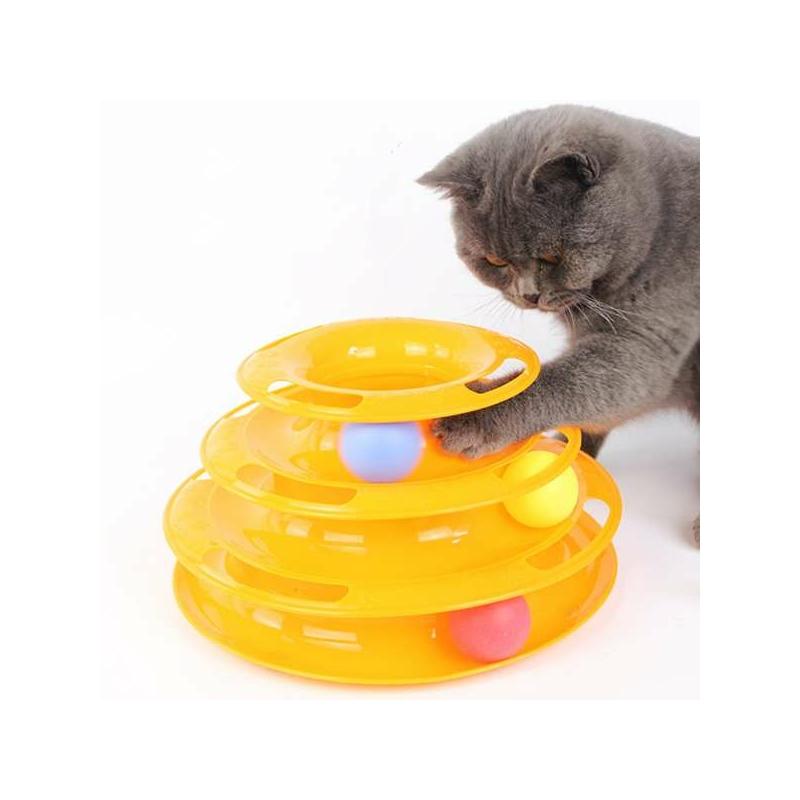 Háromszintes labdás játéktorony macskáknak