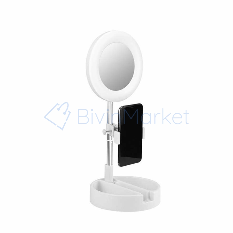 G3 kozmetikai tükör körfénnyel, állvánnyal és telefontartóval / Kombinált sminkes doboz