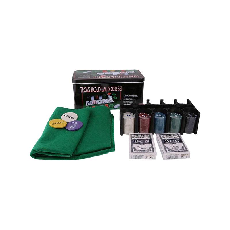 Komplett póker készlet / filc játékfelület, 200 db zseton, 2 pakli kártya