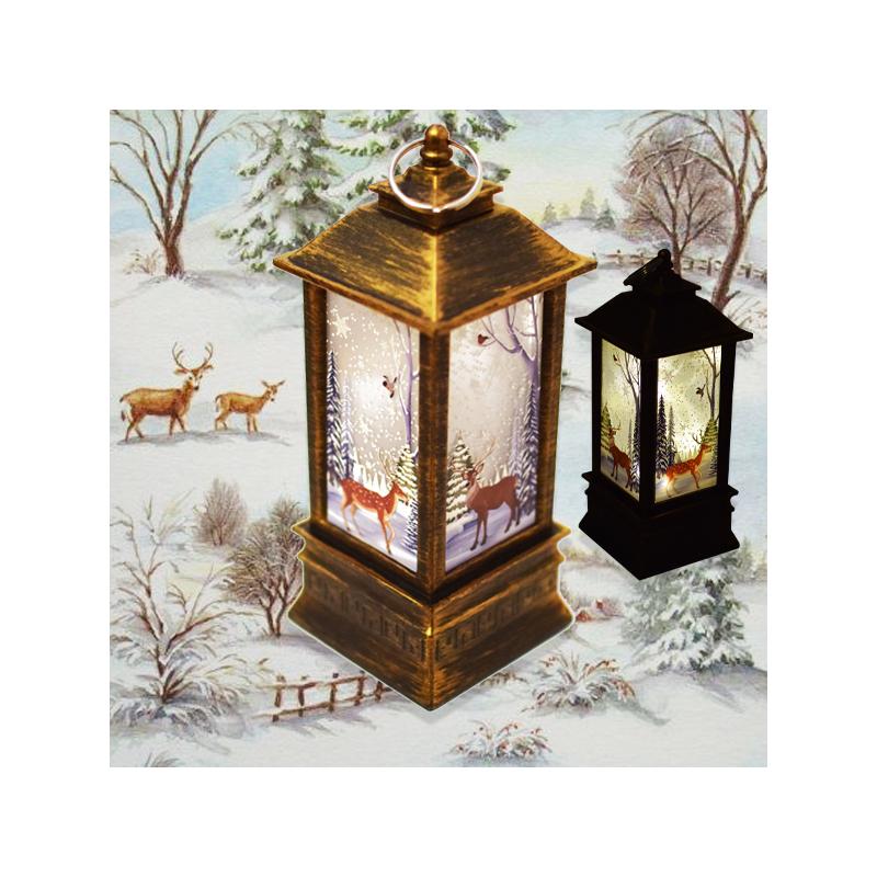 Karácsonyi mintás LED lámpás - 19 cm