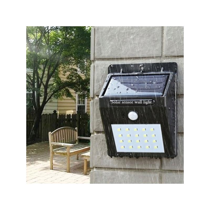 Napelemes fali lámpa mozgás- és fényérzékelővel, 20 leddel