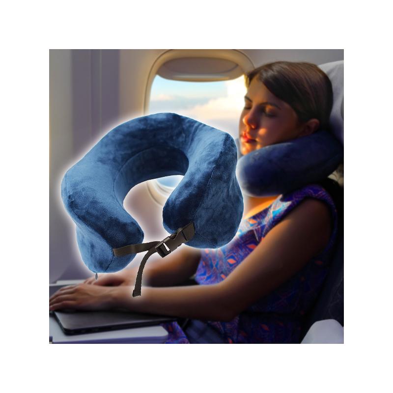 Memóriahabos nyakpárna utazáshoz, kék