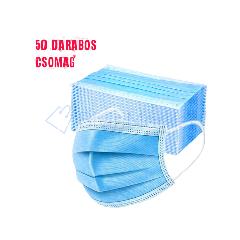 Háromrétegű szájmaszk csomag - 50 darabos, egészségügyi arcmaszk