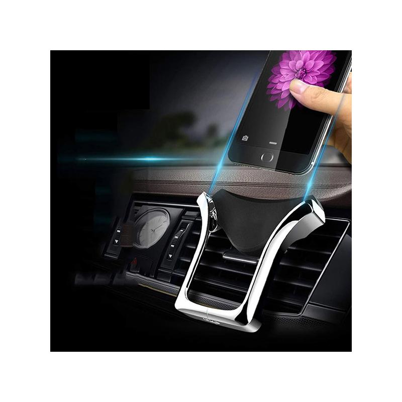Szellőzőrácsba rögzíthető autós telefontartó