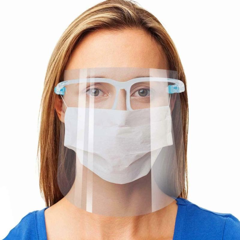 Szemüvegkeretes, műanyag arcvédő pajzs / átlátszó arcmaszk
