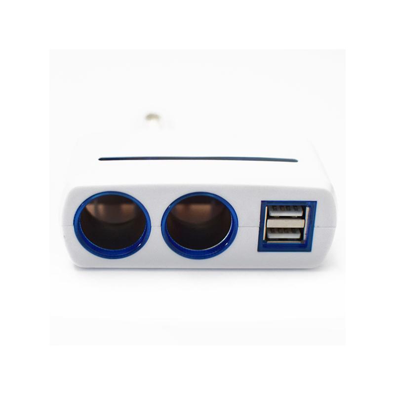 90 fokban forgatható szivargyújtó elosztó / 2 db szivargyújtó + 2 db USB kimenet