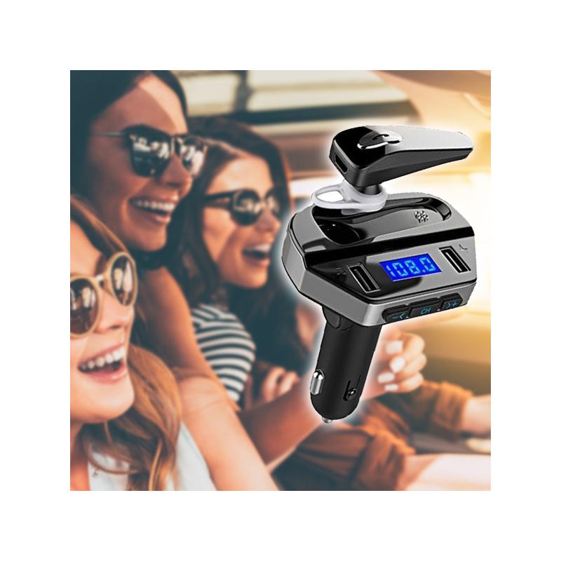 Bluetooth FM transzmitter headsettel / autós kihangosító és zenelejátszó