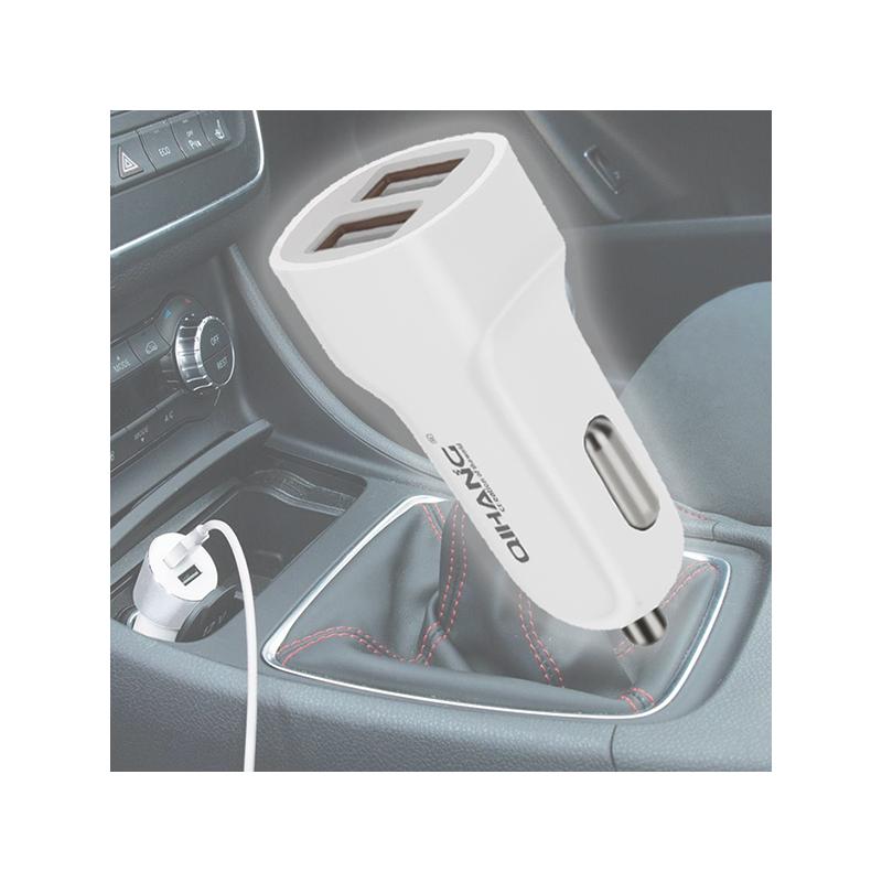 Gyors dupla autós töltő Type-C típusú kábellel / szivargyújtó adapterrel
