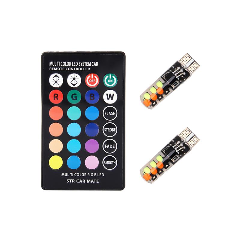 T10 távirányítós RGB LED világítás autóba / szilikonos