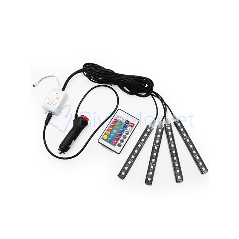 Szivargyújtós LED lábtérvilágítás autóba / 4x9 leddel, távirányítóval