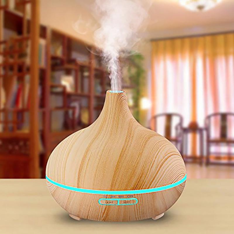Fahatású aromaterápiás párologtató távirányítóval / ultrahangos párásító, 400 ml - világosbarna