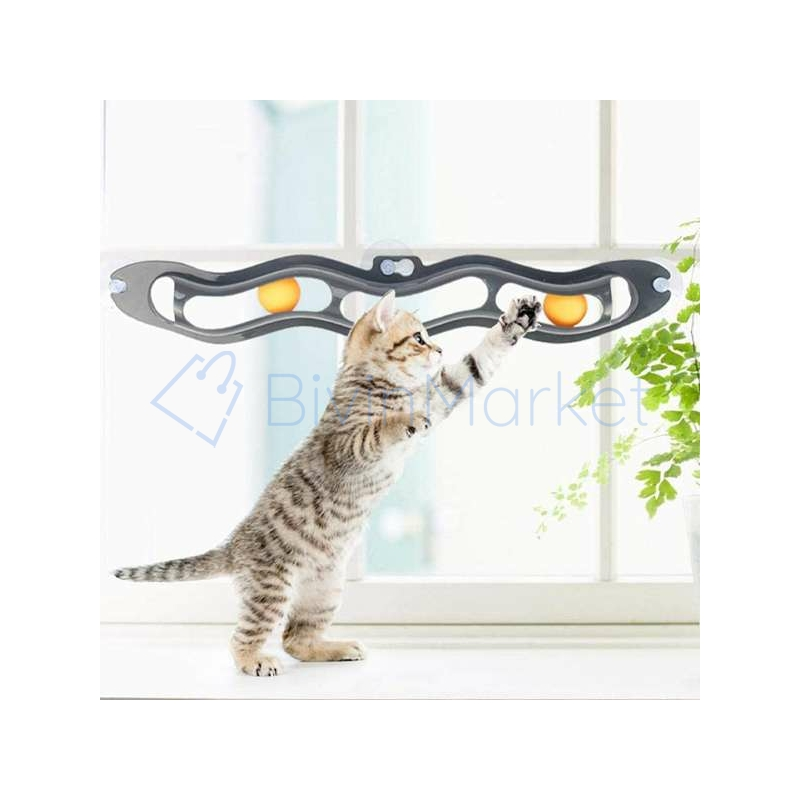 Üvegre rögzíthető macskajáték / labdás játék macskáknak