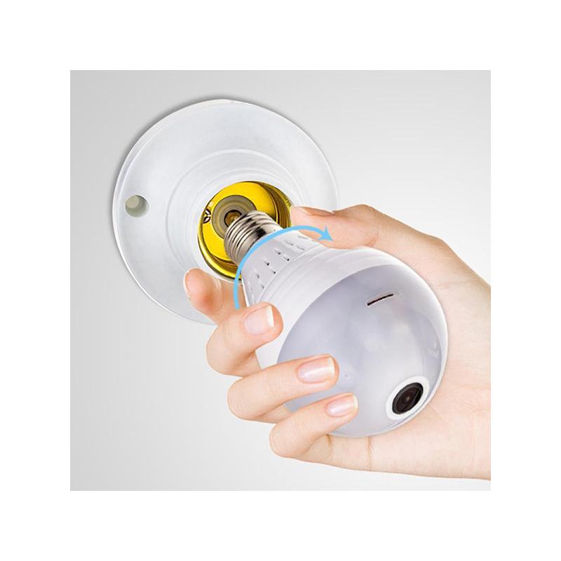 WiFi biztonsági kamera E27-es foglalatba / rejtett, éjjellátó, mozgásérzékelő, 360°-ban lát...