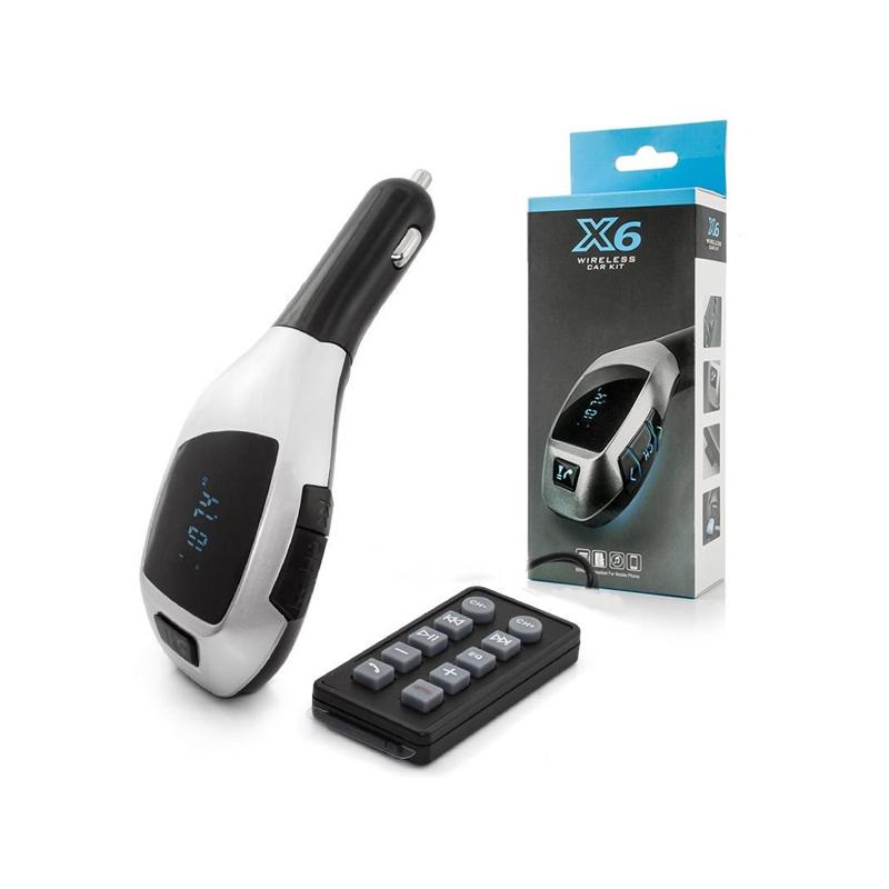 X6 Bluetooth FM transzmitter / autós kihangosító és zenelejátszó távirányítóval
